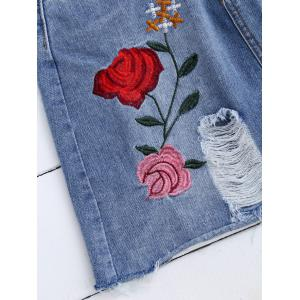 Rose Embroideried A Line Ripped Jean Skirt - DENIM BLUE S
