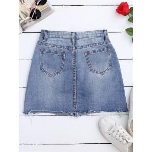 Rose Embroidered A Line Ripped Jean Skirt - DENIM BLUE M