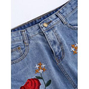 Rose Embroidered A Line Ripped Jean Skirt - DENIM BLUE XL