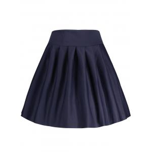 A Line High Waisted Mini Skirt - DEEP BLUE XL