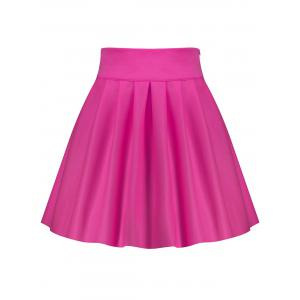 A Line High Waisted Mini Skirt - Rose Rouge S
