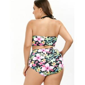 Tropical Palm Floral Halter Plus Size Ladder Cut Bikini -