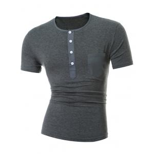 Short Sleeve Half Button and Pocket Design T-Shirt - Gray - 3xl