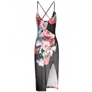 Flower Print High Waist Split Slip Dress