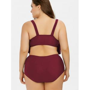 Plus Size Flounce High Waist Bottom Bikini - CLARET XL