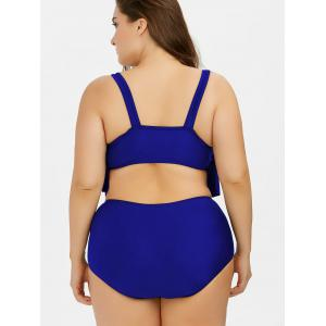 Plus Size Flounce High Waist Bottom Bikini - ROYAL XL