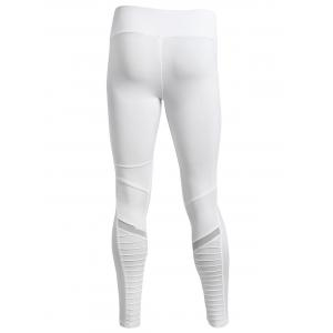 Pleated Skinny Mesh Insert Leggings - WHITE S