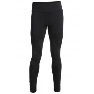 Pleated Skinny Mesh Insert Leggings - Black - S