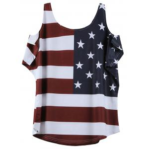 American Flag Pattern Cold Shoulder T-Shirt - WINE RED 2XL