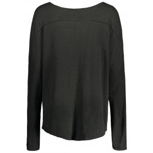 Women's Stylish Scoop Neck Asymmetrical Long Sleeve Sweater - DEEP GRAY XL