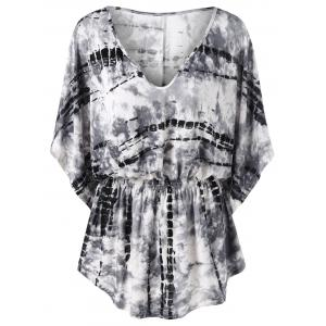 Tie Dye Smocked Waist T-Shirt - White And Black - M