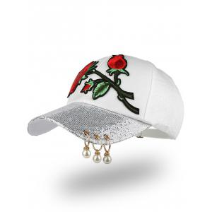 Bespangling Rose Embroidered Faux Pearl Circles Baseball Hat - White