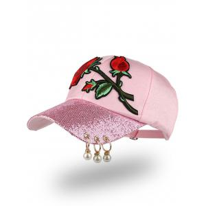 Bespangling Rose Embroidered Faux Pearl Circles Baseball Hat - Pink - One Size
