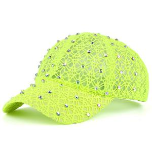 Lace Hollow Out Mesh Hot Drilling Hat - Apple Green