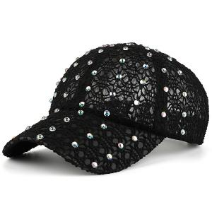 Lace Hollow Out Mesh Hot Drilling Hat - Black - One Size