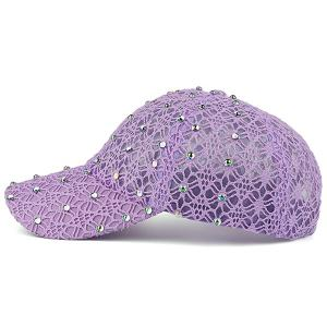 Lace Hollow Out Mesh Hot Drilling Hat - LIGHT PURPLE