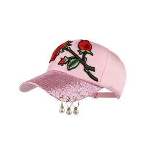 Bespangling Rose Embroidered Faux Pearl Circles Baseball Hat -