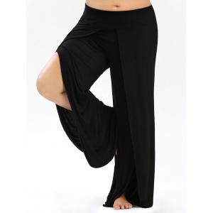 High Split Plus Size Palazzo Pants - Black - 4xl