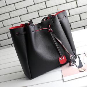 Faux Leather Drawstring Shoulder Bag -
