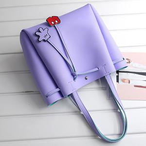Faux Leather Drawstring Shoulder Bag - PURPLE