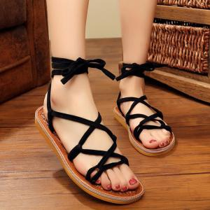 Lace Up Flat Heel Sandals - BLACK 37
