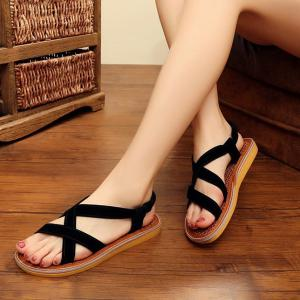 Elastic Band Flat Heel Sandals - BLACK 37