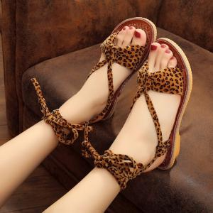 Lace Up Leopard Print Flat Sandals -