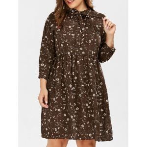 Daisy Floral Pussy Bow Plus Size Shirt Dress - Deep Brown - Xl