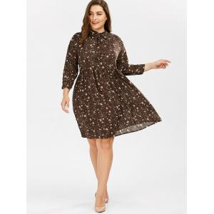 Daisy Floral Pussy Bow Plus Size Shirt Dress - DEEP BROWN XL