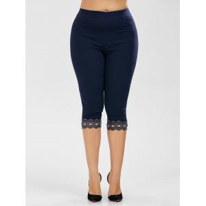 Plus Size Lace Trim High Waist Capri Leggings - Purplish Blue - 5xl