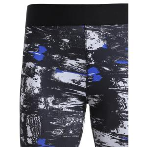 Ankle Length Print Sports Running Leggings - BLUE S