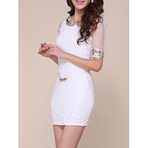 Mesh Trim Fitted Mini Dress with Sequins -