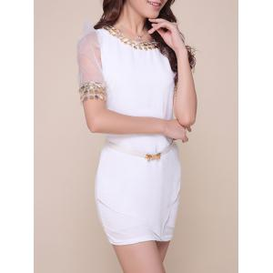 Mesh Trim Fitted Mini Dress with Sequins - WHITE M