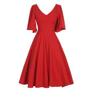 V Neck Swing Vintage Dress - Red - S