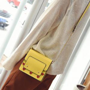 Heart Patches Chain Crossbody Bag - YELLOW