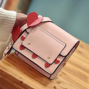 Heart Patches Chain Crossbody Bag - PINK