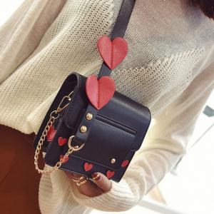 Heart Patches Chain Crossbody Bag