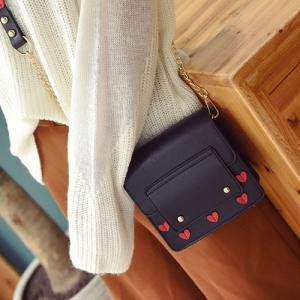 Heart Patches Chain Crossbody Bag - BLACK