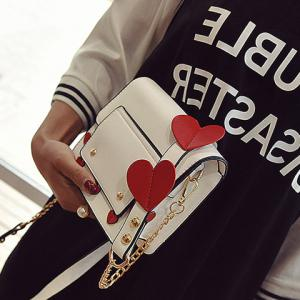 Heart Patches Chain Crossbody Bag - White - Xl