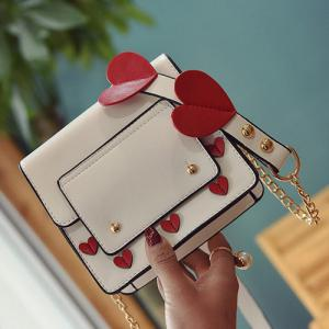 Heart Patches Chain Crossbody Bag - WHITE