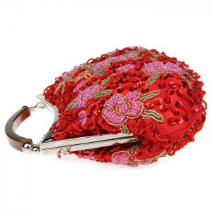 Floral Beading Sequin Evening Bag - RED