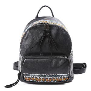 Ethnic Embroidery PU Leather Backpack