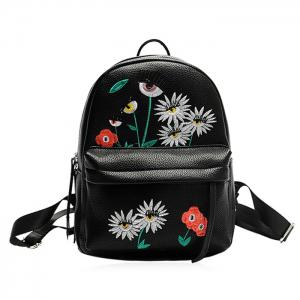 Faux Leather Floral Embroidered Backpack - Black - 39