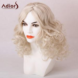 Adiors Medium Zigzag Side Parting Shaggy Curly Synthetic Wig - WHITE