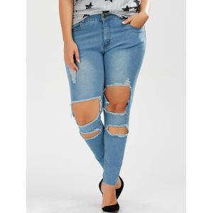 Plus Size Skinny Ripped Jeans -