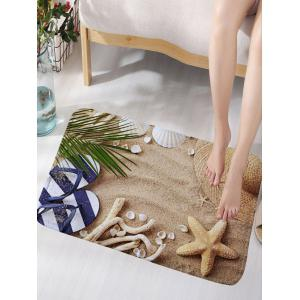 Beach Shoes Starfish Flannel Skidproof Bath Mat - Sand Yellow - W16 Inch * L24 Inch
