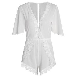 Trendy Plunging Neck 3/4 Sleeve Back Cut Out Romper For Women -