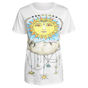 Round Neck Short Sleeve Sun Print Women's T-Shirt -