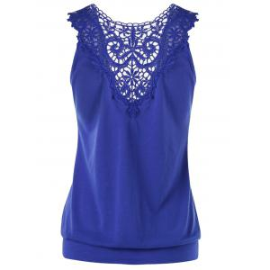 Low Cut Lace Panel Empire Waist T-Shirt -