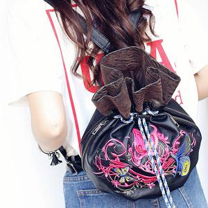 Drawstring Color Block Embroidery Backpack - BLACK